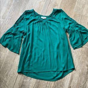 Westport Kelly Green Cold Shoulder Bell Sleeve Top